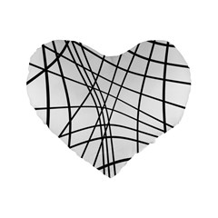 Black And White Decorative Lines Standard 16  Premium Heart Shape Cushions by Valentinaart