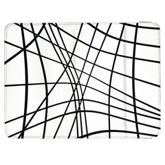 Black And White Decorative Lines Samsung Galaxy Tab 7  P1000 Flip Case by Valentinaart