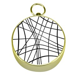 Black And White Decorative Lines Gold Compasses by Valentinaart