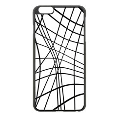 Black And White Decorative Lines Apple Iphone 6 Plus/6s Plus Black Enamel Case by Valentinaart