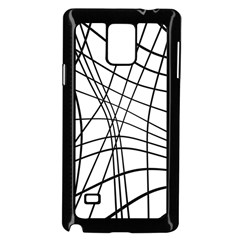 Black And White Decorative Lines Samsung Galaxy Note 4 Case (black) by Valentinaart