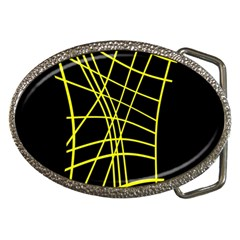 Yellow Abstraction Belt Buckles by Valentinaart