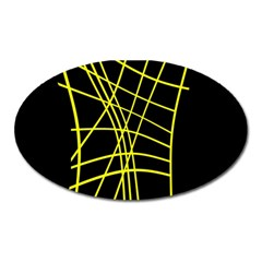Yellow Abstraction Oval Magnet by Valentinaart