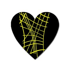 Yellow Abstraction Heart Magnet by Valentinaart