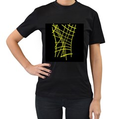 Yellow Abstraction Women s T-shirt (black) (two Sided) by Valentinaart