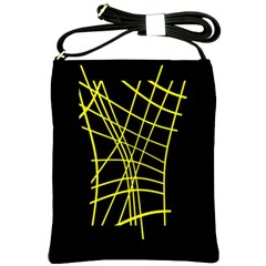 Yellow Abstraction Shoulder Sling Bags by Valentinaart