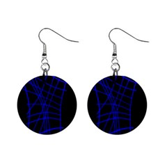 Neon Blue Abstraction Mini Button Earrings by Valentinaart