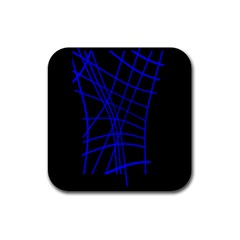 Neon Blue Abstraction Rubber Square Coaster (4 Pack)  by Valentinaart