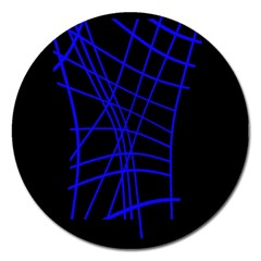 Neon Blue Abstraction Magnet 5  (round) by Valentinaart