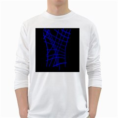 Neon Blue Abstraction White Long Sleeve T-shirts by Valentinaart
