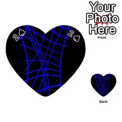 Neon Blue Abstraction Playing Cards 54 (heart)  by Valentinaart