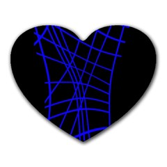 Neon Blue Abstraction Heart Mousepads by Valentinaart
