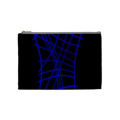 Neon Blue Abstraction Cosmetic Bag (medium)  by Valentinaart