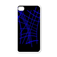 Neon Blue Abstraction Apple Iphone 4 Case (white) by Valentinaart