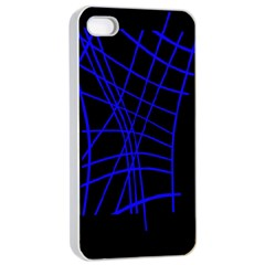 Neon Blue Abstraction Apple Iphone 4/4s Seamless Case (white) by Valentinaart