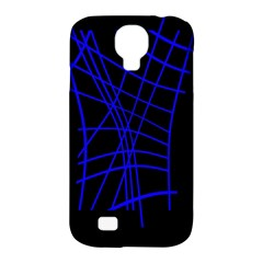 Neon Blue Abstraction Samsung Galaxy S4 Classic Hardshell Case (pc+silicone) by Valentinaart