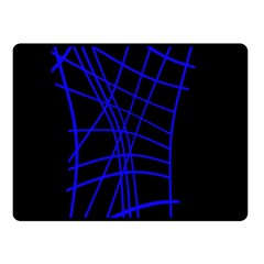 Neon Blue Abstraction Double Sided Fleece Blanket (small)  by Valentinaart