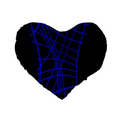 Neon Blue Abstraction Standard 16  Premium Flano Heart Shape Cushions by Valentinaart