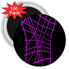Neon Purple Abstraction 3  Magnets (100 Pack) by Valentinaart
