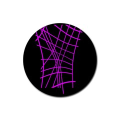 Neon Purple Abstraction Rubber Coaster (round)  by Valentinaart