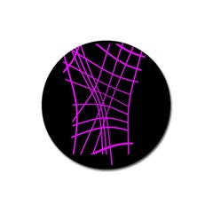 Neon Purple Abstraction Magnet 3  (round) by Valentinaart