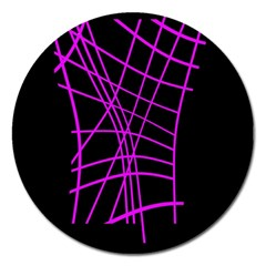 Neon Purple Abstraction Magnet 5  (round) by Valentinaart