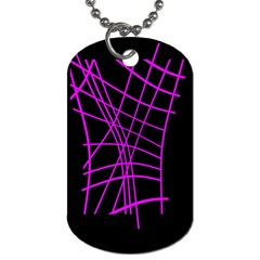 Neon Purple Abstraction Dog Tag (two Sides) by Valentinaart