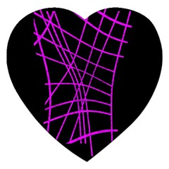 Neon Purple Abstraction Jigsaw Puzzle (heart) by Valentinaart