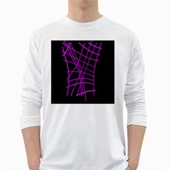 Neon Purple Abstraction White Long Sleeve T Shirts by Valentinaart