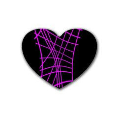 Neon Purple Abstraction Rubber Coaster (heart)  by Valentinaart