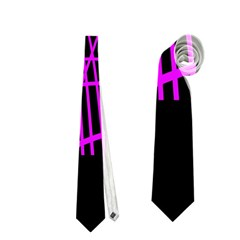 Neon Purple Abstraction Neckties (two Side)  by Valentinaart