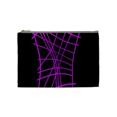 Neon Purple Abstraction Cosmetic Bag (medium)  by Valentinaart