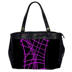 Neon Purple Abstraction Office Handbags (2 Sides)  by Valentinaart