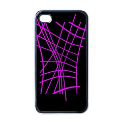 Neon Purple Abstraction Apple Iphone 4 Case (black) by Valentinaart