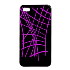 Neon Purple Abstraction Apple Iphone 4/4s Seamless Case (black) by Valentinaart