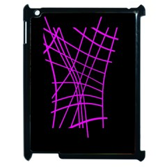Neon Purple Abstraction Apple Ipad 2 Case (black) by Valentinaart