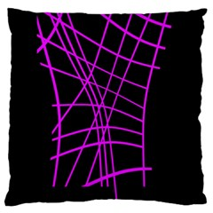 Neon Purple Abstraction Large Cushion Case (one Side) by Valentinaart