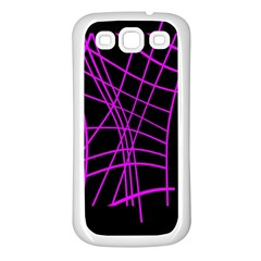 Neon Purple Abstraction Samsung Galaxy S3 Back Case (white) by Valentinaart