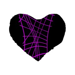 Neon Purple Abstraction Standard 16  Premium Flano Heart Shape Cushions by Valentinaart