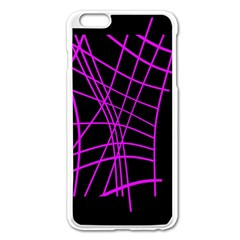 Neon Purple Abstraction Apple Iphone 6 Plus/6s Plus Enamel White Case by Valentinaart