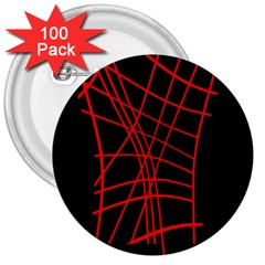 Neon Red Abstraction 3  Buttons (100 Pack)