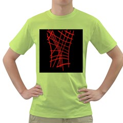 Neon Red Abstraction Green T-shirt by Valentinaart