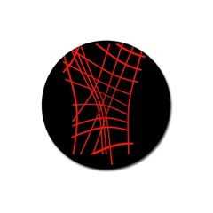 Neon Red Abstraction Magnet 3  (round) by Valentinaart