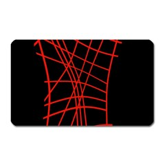 Neon Red Abstraction Magnet (rectangular) by Valentinaart