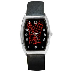 Neon Red Abstraction Barrel Style Metal Watch by Valentinaart