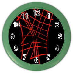 Neon Red Abstraction Color Wall Clocks