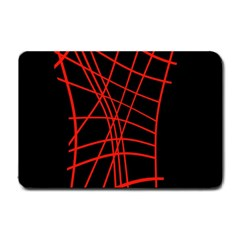 Neon Red Abstraction Small Doormat  by Valentinaart