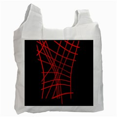 Neon Red Abstraction Recycle Bag (one Side)