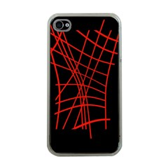 Neon Red Abstraction Apple Iphone 4 Case (clear) by Valentinaart