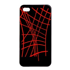 Neon Red Abstraction Apple Iphone 4/4s Seamless Case (black) by Valentinaart